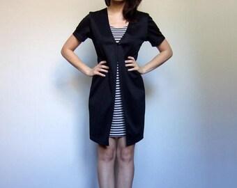 90s Dress Simple Striped Dress Vintage Short Sleeve Dress Black White Minimalist Dress Summer Dress Women - Medium M
