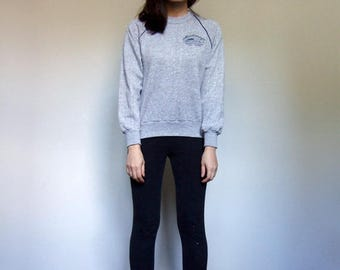 80s Sweatshirt Grey Jumper Casual Canada Pullover Long Sleeve Top Heather Grey Retro Sweater - Extra Small to Small XS S