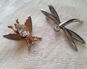 Victorian Steampunk Vintage Insect Brooches One Bee One Dragonfly Very Cute Unique