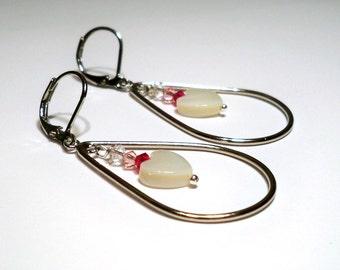 MOP Hearts Crystal Accents Silver Tearrop Chandelier Earrings