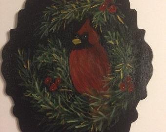 Christmas Cardinal Tole Painting