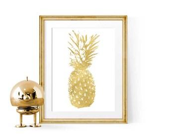 Gold Pineapple Decor Wall Art, Gold Foil Print