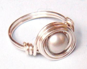 Silver Ring   Silver Pearl Ring   Silver Freshwater Pearl Ring   Sterling Silver Jewelry