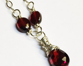 Garnet Jewelry   Red Garnet Necklace   Garnet Necklace   Garnet Pendant  January Birthstone  Garnet Gemstone