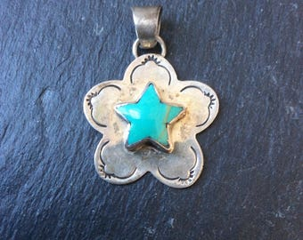 Sterling silver and turquoise Southwestern star pendant