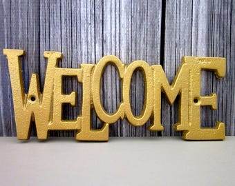 Welcome Plaque, Sign, Cast Iron, Metallic Gold, Painted, Door Sign, House Sign, Metal Welcome Sign, Indoor, Outdoor, Cast Iron Wall Decor