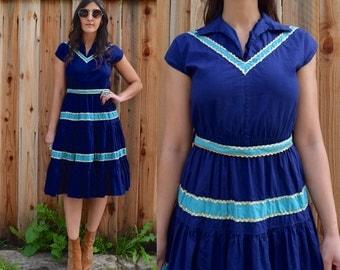 Vintage 50s ROCKABILLY Country Patio Fiesta SQUAW Dress Xs