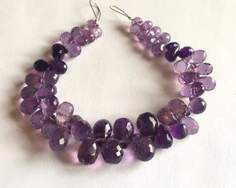 Shaded Amethyst faceted teardrop briolettes, 6.5 inch strand, 7-12mm (w112)