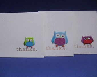 Set of 6 Owl Thanks Cards