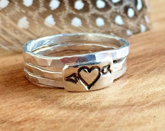 Heart Arrow Ring Set - Sterling Silver Stackable Rings - Personalized Ring - Silver Heart Stackable Ring