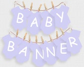 printable baby shower decorations lavender baby one piece alphabet banner - instant download - first birthday decor baby girl purple welcome
