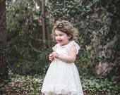 Flower Girl Dress with Free Sash- Cream Dress- Lace dress- Girls Ivory Dress- Baby Lace Dress- Junior Bridesmaid