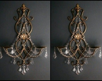 PAIR 2 Double Pillar Candle  Wall Sconces in Antique Gold with Clear Crystals MADE To ORDER