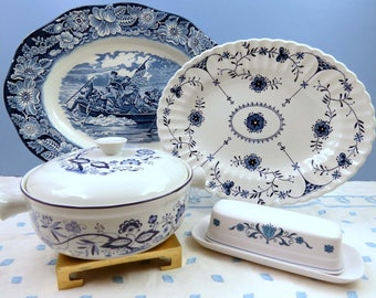 Mismatched Blue and White Vintage Ironstone Serving Pieces, Hostess Set includes 2 Platters, Covered Bowl and Butter Dish