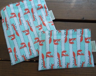 Reusable sandwich and/or snack bag - Reusable snack bag - Fabric sandwich bag - Reusable bags set - Zero waste snack bags - Foxes