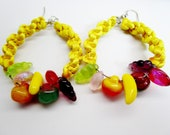 Vintage Fruit Salad Macrame Big Yellow Hoops Dangle Earrings Antique Art Glass Beads 70's Hippie Pierced Bohemian Biker Rockabilly Spring