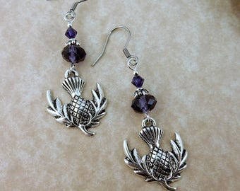 Silver Scottish Thistle Earrings with purple Crystals