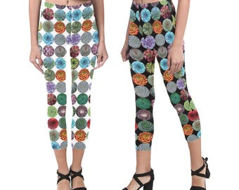 Graphic Succulent Capris Leggings - photographic succulent leggings - mid-calf length - printed leggings