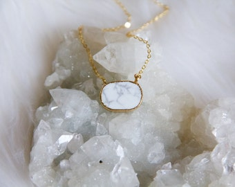 White Turquoise Oval Necklace
