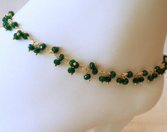 Emerald Ankle Bracelet, Emerald Bracelet, Anklet, Custom Anklet, May Birthstone, Beach Jewelry, Emerald Anklet