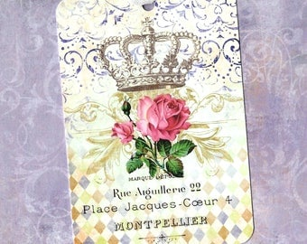 Tags, French Style, Gift Tags, Roses & Crown, Party Favors