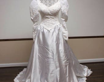 Vintage Bridal Gown  - Beaded Lace Top Long Sleeve Wedding Dress