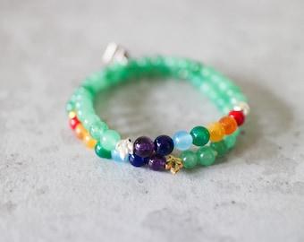 Irya bracelet - 6mm aventurine with gold pewter leaf seven chakra rainbow gemstone bracelet
