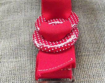 Red Elastic Stretch Belt With Double Round Red and White Polka Dot Buckle
