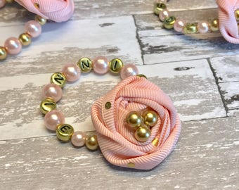 Infant Custom Name Pearl Bracelet, pink gold Baby Girl Glass Fabric Flower Rosette Newborn Girl photo prop, baby shower gift twins monogram