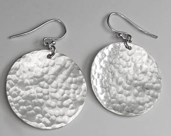 Hammered Silver Disc Earrings - Everyday Drop Earrings - Circle Earrings - Sterling Silver Earrings
