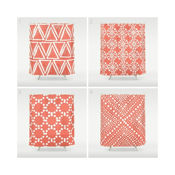 Coral Shower Curtain - Geometric Shower Curtain - Modern Shower Curtain - White Shower Curtain - Triangle Shower Curtain - Coral and White