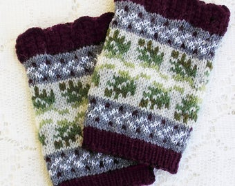 Knitting Kit - Wintertide Wristlets - Snowy Colorway - Cuffs with Lace Edging and Metallic Accents