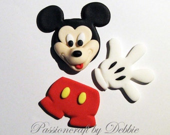 12 Fondant edible cupcake cake toppers - Mickey Mouse anniversary baby shower birthday boy