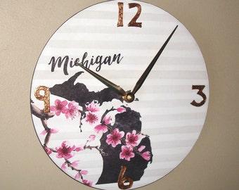 10 Inch Michigan Wall Clock with Blossoms, Unique Michigan Floral Wall Clock - 2271