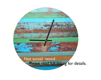 SILENT Rustic Wall Clock, Reclaimed Wood IMAGE Wall Clock, Turquoise Green Brown, Unique Wall Decor, Unique Wall Clock (NOT Real Wood) 1751
