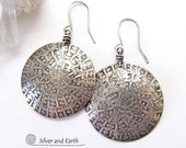 Large Sterling Silver Earrings, Oxidized Silver Earrings, Bold Statement Earrings, Solid Silver Earrings, Handmade Jewelry by SilverandEarth