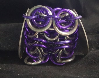 Large Chainmaille Owl - Purple and Silver