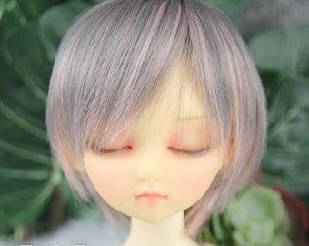 Fatiao - New Dollfie MSD Kaye Wiggs 1/4 BJD Size 7-8 inch Dolls Wig - Gray & Pink