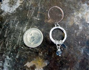 Sterling circle Wrapped Labradorite Earring