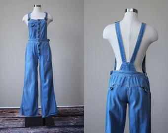 70s Denim Overalls - Vintage 1970s Flare Leg Bell Bottoms Jean Overalls S - Hang Ten Overalls
