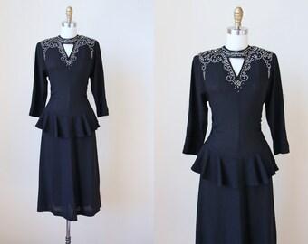 1940s Dress - Vintage 40s Dress - Dramatic Black Rayon Studded Sequins Bondage Neckline Peplum Dress M - Take No Prisoners Dress