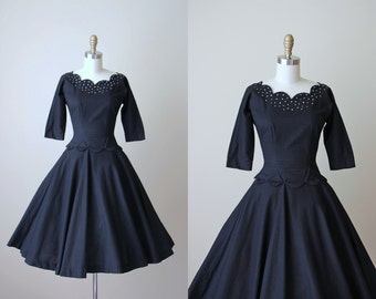 50s Dress - Vintage 1950s Dress - Black Cotton Dotted Swiss Rhinestones Peplum Full Skirt Party Dress S - Starstudded Dress
