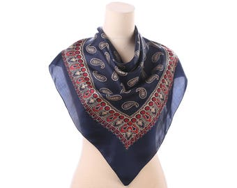 SILK Scarf 70s Vintage Paisley Printed Navy Blue Red Gold Semi Sheer Shawl 31 in Square Boho Retro Scarf Womens Gift