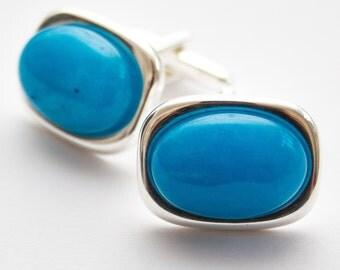 Sky Blue Fluorite cufflinks.  Rectangle Cuff Links.  Gemstone.  Electric Spar Sky Blue.  Hand Crafted.  Gifts For Men.  Groom Cufflinks.