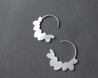 SALE Sterling Silver Hoop Earrings, Flower Hoop Earrings, Silver Drop Earrings, Minimalist Hook Earrings, Statement Hoop Earrings