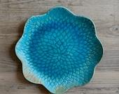 Ceramic Serving Platter, Flower shape, tropical, Turquoise plate,  Spring platter,  Tableware,  cake plate