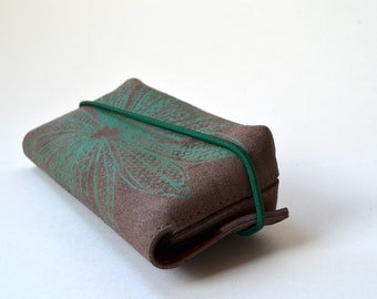 Leather case for glasses (brown leather with green print)