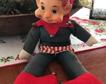 Elf Knee Hugger Red Elf  Pixie Shelf Sitter Christmas Elf  Vintage Rubber Head Doll 1950s Vintage Christmas Doll