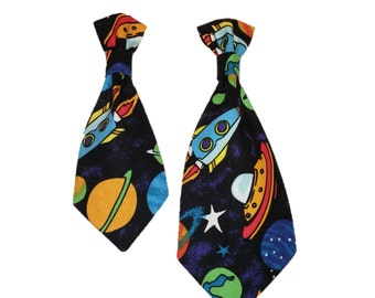 Space Dog Tie - Rockets Pet Tie - Planets Cat Accessory - Space Ships