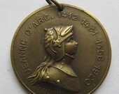 Joan Of Arc Antique Religious Medal  Signed A J Corbierre 1920    SS101